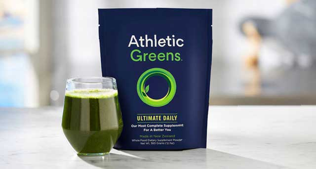 Athletic Greens pouch and glass