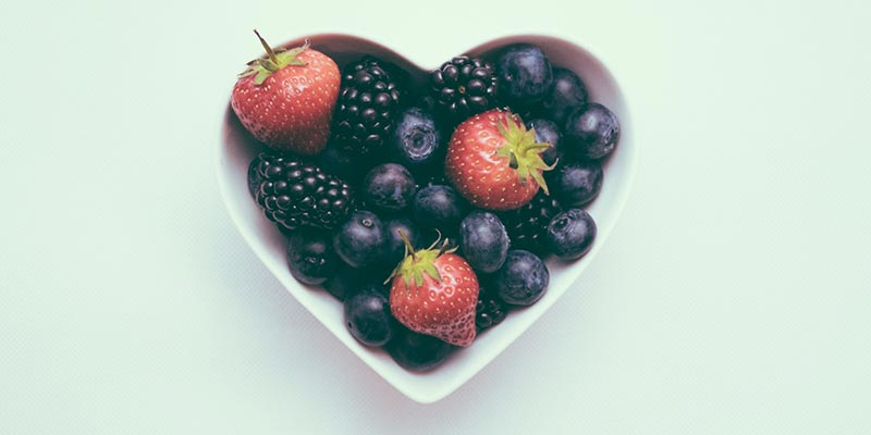 Heart of berries in a bowl