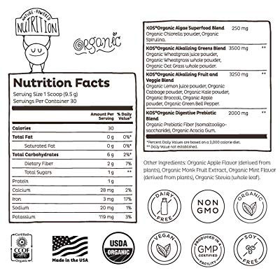 KOS Organic greens blend ingredient label