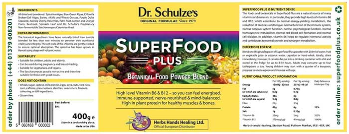 Superfood Plus supplement label