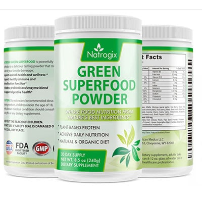 Natrox green superfood powder tubs