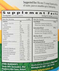 Naturo greens ingredient label