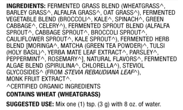 Fermented Greens ingredients label