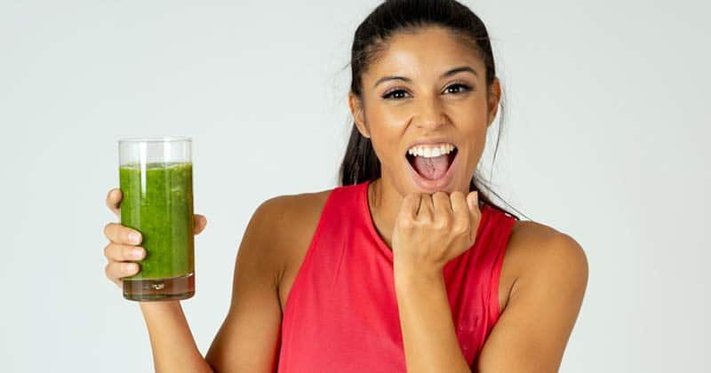 Drinking perfect greens powder drink